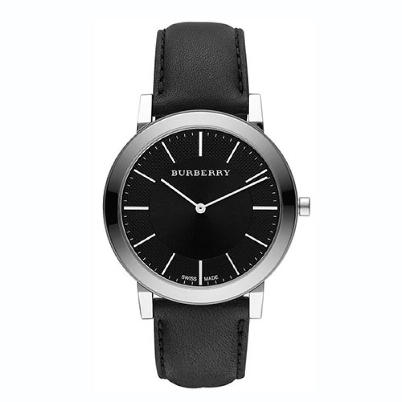 burberry black leather watch