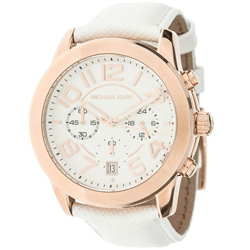 MK white leather watch